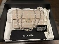Chanel Beige Quilted Canvas Classic Single Flap Bag