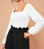 Square Neck Bishop Sleeve Solid Elegant Blouse Top Casual