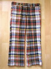 Vtg 70s Blue Yellow Rust Plaid Wool Blend Tweed Golf Nerd Wide Leg Cuff Pants 36