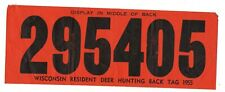 1955 Wisconsin Resident Deer Hunting Back Tag