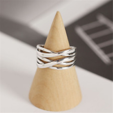 100% 925 Sterling Silver Adjustable Ring Weave Band Thumb Finger Rings Gift