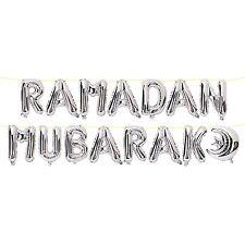 Ramadan MUBARAK lettere & crescent moon Lamina Metallica Da Appendere Palloncini-Argento