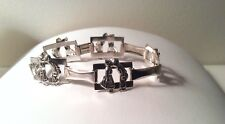 STERLING SILVER BRACELET W/ 5 DUTCH COUPLES KISSING & DANCING around her wrist