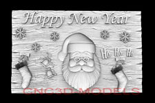 3d Model Stl For Cnc Router Artcam Aspire Happy New Year Santa Claus D758