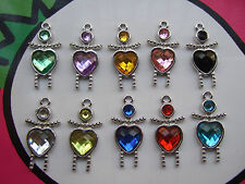 10 x Rhinestone Crystal Heart Figure Shape Beads Charms Pendant Fashion 26*12mm