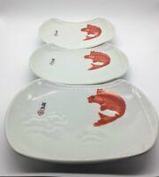 Set of 3 Japanese Sushi Dishes With Orange Koi Fish Design