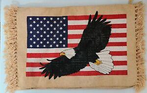 Set of 4 El Paso Saddle Blanket Placemats Southwestern flag USA  Fringed BRand