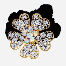 Flower Hair Rope Wrap Rhinestone Crystal Scrunchies Ponytail Holder Gold F37
