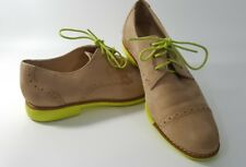Cole Haan Woman Oxford Sz 5  Tan SUEDE Wingtip Shoes w/ Yellow Soles