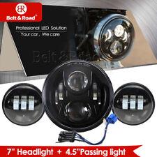 "14-18 Harley 7"" LED Headlight & Passing Lights Black Projector Headlight Lamp"