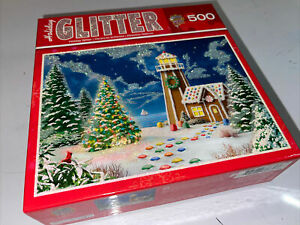 Master Pieces Gingerbread Lighthouse 500pc Glitter Puzzle Complete