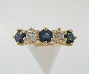 14K Solid Yellow Gold Lab Created Blue Sapphire & Diamond Ring