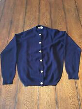 Vintage BALLANTYNE Navy 100% Cashmere Cardigan Gold Buttons Made In Scotland