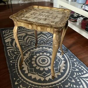 Vtg Louis XIV Gold Gilt Table French Baroque Florence Italy Hollywood Regency
