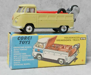 Corgi 490 VW Breakdown Truck Olive Green Spun Hubs Original Near Mint Boxed