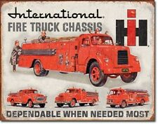 International Fire Truck Chassis Service Garage Disstressed Retro Metal Tin Sign