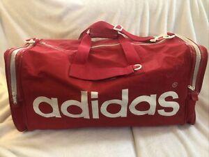 """Vintage Red Adidas 80's Large Duffle Gym Travel Bag Trefoil 26"""" Shoulder Strap"""