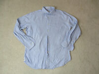 Peter Millar Button Up Shirt Adult Large 15 1/2 R Blue White Long Sleeve Mens