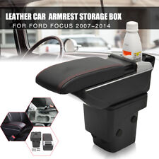 Black Leather Armrest Storage Box Car Center Console For Ford Focus 2007-2014
