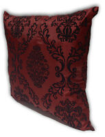 Maroon Home Decorate Room Sofa Flock Print Cushion Cover Pillow Case 43cm x 43cm