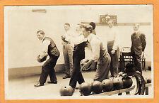 Real Photo Postcard RPPC - Six Men Bowling - Sports