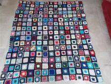 Vintage Handmade Patchwork Sewn Crochet Textile Bed Spread Throw Blanket Quilt