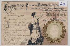2830, Patriotika Gruss der Nationalfeier tolles Präge Litho 1897 !