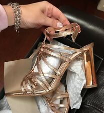 $249 👠👠👠New Rose Gold Ozone Mimco Heels SANDALS SHOES Wedges 40 Or 9