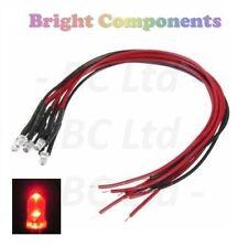 5 X Led Rojo Pre-Cableado 3mm Ultra Brillante: 5V ~ 7V: 1st Class Post