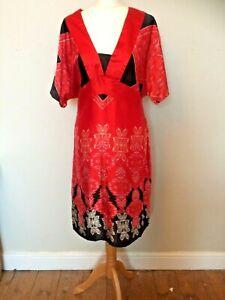 Vintage Satin Dress Kimono Style Oriental Plus Size 18 Extreme Silky Dress