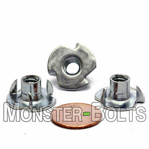 """1/4""""-20 OAL - 3 Prong Tee Nut  CR+3 Zinc Plated Steel T-Nut  5/16"""" or 7/16"""""""