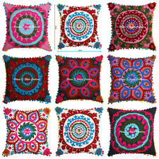 """Indian Embroidered Pillow Cases Suzani Cushion Square 18"""" Pillow Cushion Cover"""