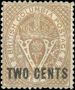 Canada British Columbia Mint NG 1867-71  VF 2c on 3d Scott #8 Surcharged Stamp
