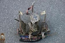 54 x 46 cm alte Kogge Schiffsmodell Handwerksarbeit Holzschiff Segel 3 Master