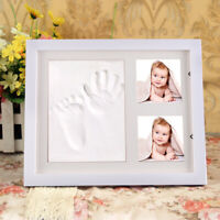 Baby Hand & Foot Print Clay Cast Kit  2 Photo Picture Frame Christening Gift