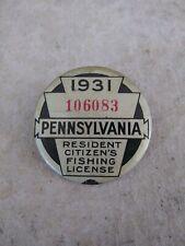 1931 Pennsylvania Resident Citizen's Fishing License
