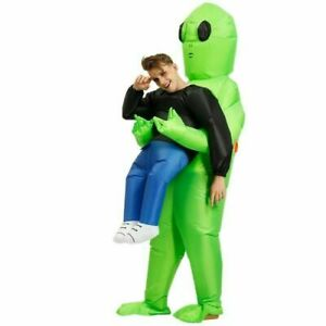 Inflatable Alien Hug From Back Costume for Halloween Party Adult Green Cosplay