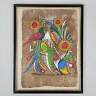 Primitive Funky Hippie 1960s Art Bird and Flowers Painting on Handmade Paper