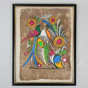 1960s Primitive Funky Hippie Art Bird and Flowers Painting on Handmade Paper