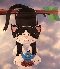 New listing Hanging Cat Kitten Pet Blue Bird Tree Nest Windsculpt Applique Large Yard Flag N
