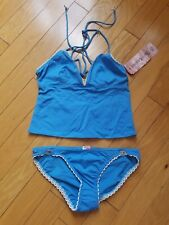 NWT womens Juicy Couture blue tankini swimsuit size L top and M bottom
