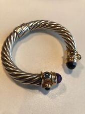 David Yurman 10mm Renaissance Cable Bracelet Amethyst Sterling & 14K