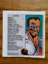"Mortal Kombat 1992 Kano Puffy Sticker 3"" Long New Old Stock Video Game"