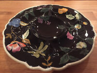 Tracy Porter Jardinière Black Floral 3 Section Divided  Relish Dish Tray NWOB