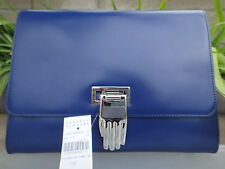 Opening Ceremony Nokki Clutch Cobalt Blue Smooth Leather, MSRP $325 NWT