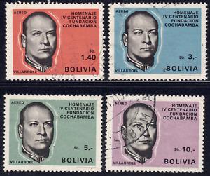 1968 Bolivia SC# C282-C286 - F - Pres. Gualberto Villaroel - 4 Different - Used