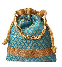 Indian Women Potli Bag Bridal Wedding Purse Bead Colorful Bag Brocade Potli 1/6