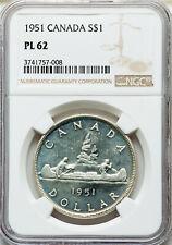 1951 Silver Dollar NGC PL-62 ** RARE Grade BEAUTIFUL King George VI Canada $1.00