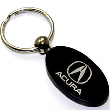 Black Aluminum Metal Oval Acura Logo Key Chain Fob Chrome Ring