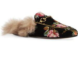 Gucci Princetown Horsebit Floral Shearling Fur Slipper Mule Black Velvet 38.5